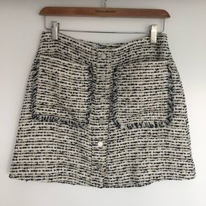 Patterned tweed mini-skirt